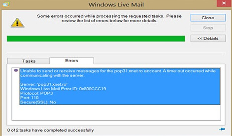 Windows Live Mail 0x800CCC19 Error