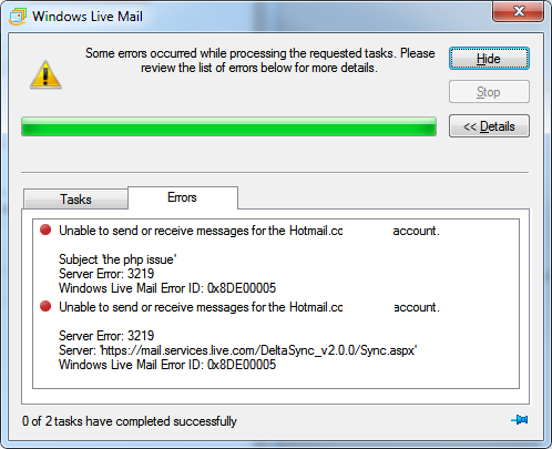 Windows Live Mail 0x8DE00005 Error
